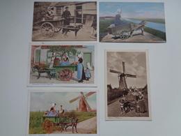 Beau Lot De 5 Cartes Postales Du Pays Bas Laitière  Attelage De Chien Mooi Lot 5 Postk. Melkvrouw Hondenspan Holland - Postkaarten