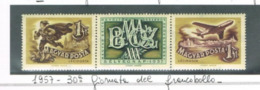 UNGHERIA (HUNGARY) - SG 1488.1489 - 1955  STAMP DAY (COMPLET SET OF 2 WITH CENTRAL LABEL SE-TENANT) -  MINT** -  RIF.CP - Nuovi