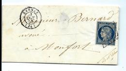 Lettre De RENNES 1850 - N°4 Bien Margé - Belle Frappe - 1849-1850 Cérès