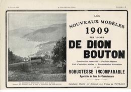 Ancienne Pub Automobile De Dion Bouton, La Montée Du Portofino-Kulm Desservi Par Omnibus,chars A Bancs,golfe De Gênes - Publicidad