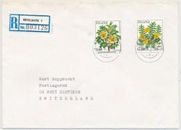 Island Blumen R-Brief Ab Reykjavik Nach Dietikon Schweiz - Lettres & Documents