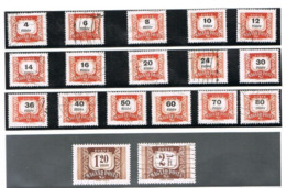 UNGHERIA (HUNGARY) - IV T216A.233A  - 1958  POSTAGE DUE   (COMPLET SET OF 18, WATERMARK STARS)     - USED° -  RIF.CP - Segnatasse