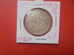 """Baudouin 1er. 50 Francs """"EXPO 1958"""" FR. ARGENT. SUPERBE+++(A.4) - 1951-1993: Baldovino I"""