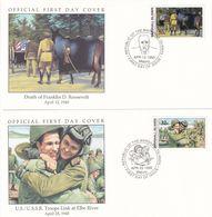 US USSR Troops Link At Elbe River Death Of Franklin Roosevelt 2x First Day Cover - Postzegels