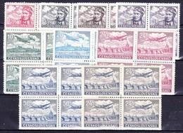 ** Tchécoslovaquie 1946 Mi 492-500 (Yv PA 19-27 Blocs De 4), (MNH) - Ungebraucht
