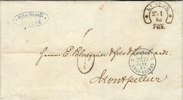 1824- Letter From MAGDEBURG / 8 FEBR.  + C P R.3 Red + PRUSSE / PAR / GIVET Red To Montpellier ( France ) - Poststempel (Briefe)