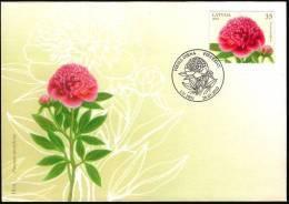 Latvia Lettland Lettonie 2010 (03) Flower Blume Chinese Peony Pfingstrose (unaddressed FDC) - Lettland