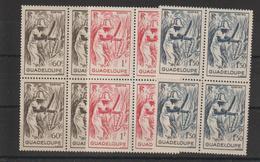Guadeloupe 1947 Coupeur De Canne à Sucre 200 à 202 En Bloc De 4 ** MNH - Ungebraucht