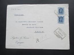 Spanien 1923 Einschreiben Der Legation De Suisse En Espagne Mit Rückseitiger Vignette / Siegel Stempel Bern 3 Bundeshaus - Cartas