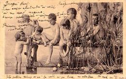 ENFANT : BÉBÉ NU / BAIGNEUR / NAKED BATHING BABY - CARTE POSTALE PRÉCURSEUR / FORERUNNER - ANNÉE / YEAR ~ 1900 (ad749) - Scènes & Paysages