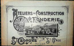 SUISSE SAINT GEORGES SAINT GALL ATELIERS DE CONSTRUCTION FONDERIE  EN TETE DE FACTURE 22 X 15 CM - France