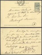 "EP Au Type 5ctm Vert Obl Ambulant ""Midi 7"" (1895) Vers Houdeng-Aimeries  / 1 Trou - Postcards [1871-09]"