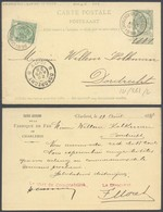 """EP Au Type 5ctm Vert + N°56 Obl Ambulant """"Charleroi - Braine-le-comte"""" (1898) Vers Dordrecht / Fabrique De Fer - Postwaardestukken"""