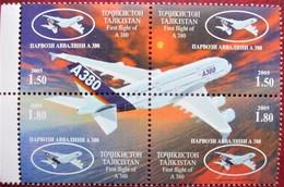 Tajikistan  2005  First  Flight  Airbus  A380   4v   MNH - Tadjikistan