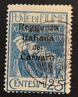 Fiume 1920 Sa. 147a = 350€ 25c Azzuro REGGENZA ITALIANA DEL CARNARO VF Used(Croatia Kroatien Croatie Italy Italia Italie - Occupation 1ère Guerre Mondiale
