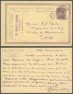 """EP Au Type 15ctm Lilas Obl Simple Cercle """"Ampsin"""" (1922) Vers Liège / émission 1915 - Cartoline [1909-34]"""