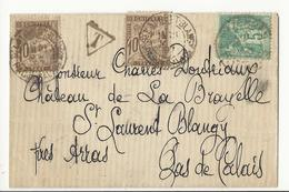 Lettre Pour Saint-Laurent-Blangy - 1897 - Affranchie à 5 Cts Et Taxée à 20 Cts - Taxes