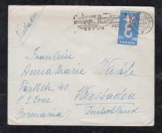 Italy 1958 Cover MANTOVA To WIESBADEN Germany 60L CEPT Single Use Christmas Postmark - 1946-60: Usati