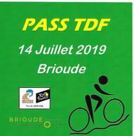 Tour De France 2019 Pass Autocollant TDF Brioude Ville Arrivée Sport Vélo Cyclisme Cycliste - Ciclismo