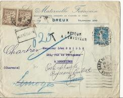Taxation 20 Cts Sur Lettre Ré-expédiée Plusieurs Fois, Dont Poste Restante (voir Scan) - 1925 - 1859-1955 Covers & Documents