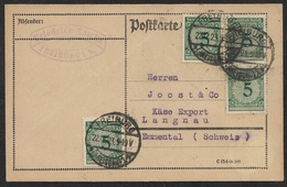 1923 Dt.Reich Infla MeF 5Pf(4) Mi.339 AUSLANDSKARTE I.d SCHWEIZ - PORTOGERECHT - Deutschland