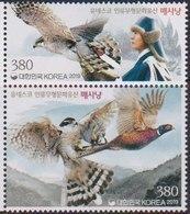 SOUTH KOREA, 2019, MNH, BIRDS, FALCONS, FALCONRY, MOUNTAINS, 2v - Aquile & Rapaci Diurni