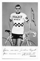 CARTE CYCLISME WILFRIED DAVID SIGNEE TEAM PEUGEOT 1971 - Cyclisme