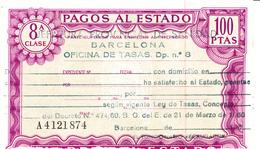 Pagos Al Estado--Clase 8ª--100 Ptas--nº A4121874--1972 - Fiscales