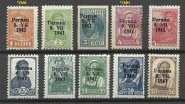 ESTLAND Estonia 1941 German Occupation Pärnu Pernau Michel 1 - 9 II MNH/MH (only 1 & 4 K. Are MH/*) - Occupation 1938-45