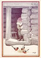 Elf - Brownie - Gnome Feeding Little Birds Bullfinches - Lennart Helje - VERY RARE - Kerstmis