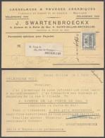 """Fine Barbe - N°53 + Préo """"Bruxelles 06"""" Sur Carte Imprimée """"Carrelages & Pavages Céramiques"""" (St-Gilles-Bruxelles) Vers - 1893-1900 Schmaler Bart"""