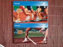 2 Phonecards Sport  Belgium 5 Euro + 10 Euro Used - Avec Puce