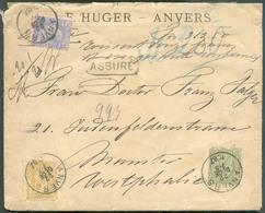 """N°47(pd)-48-50 Obl. Sc ANVERS S/L. ASSURE Du 22 Décembre 1887 + Manuscrit """"312,50 Francs"""" Vers Munster (DE). - B/TB - 15 - 1884-1891 Léopold II"""