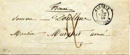 ALGERIE TLEMCEN 3 Octobre 1849 Cachet 15 Pour Doullens Port Dû Taxe 2 Décimes Manuscrite - Marcofilia (sobres)