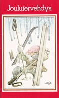 Elf - Brownie - Gnome Skiing In Trouble - Lennart Helje - VERY RARE - Double Card - Kerstmis