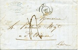 AUBENAS ARDECHE 30 Décembre 1848 Cachet Type 15 Arrivée à St Etienne Le 1er Janvier 1849 TAXE 4 DECIMES Manuscrite - Marcophilie (Lettres)
