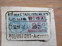Aff 25c Sur Timbre Fiscal Roquefort Aveyron Ets Louis Rigal 1927 - Fiscaux