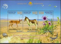 KAZAKHSTAN, 2019, MNH , FAUNA, FLORA, BARSA KELMES NATURE RESERVE, DEER, TURTLES, LIZARDS, SHEETLET - Chevaux
