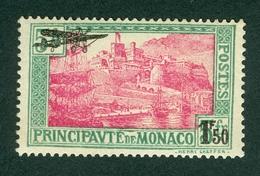 Monaco 1933 Harbor Ship Air Mail Airplane Overprint Michel 137 MNH - Monaco