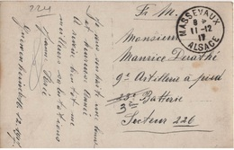 FRANCE ALSACE MILITARIA CARTE POSTALE EN FM CACHET MASSEVAUX 11 12 1917( ALSACE LIBEREE) - Postmark Collection (Covers)