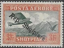 Albania  1927   Sc#C14  3fr Airmail Overprint MH  2016 Scott Value $10.50 - Albanie