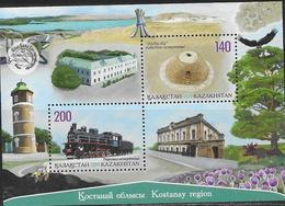 KAZAKHSTAN, 2019, MNH , KOSTANAY REGION, TRAINS, ARCHITECTURE, BIRDS,  SHEETLET - Trains