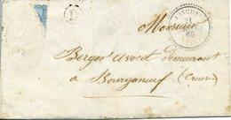 LA JONCHERE VENDEE Type 22 Du 21 Janvier 1869 + D (boite Rurale + Bureau De Passe 947 (Chateauroux) SANS TIMBRE NI TEXTE - 1849-1876: Période Classique