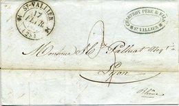 SAINT VALLIER DROME Cachet Type 12 17 Février 1844 Pour Lyon. Taxe 3 Décimes Manuscrite - 1801-1848: Précurseurs XIX