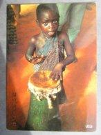 CP Afrique écrite De POINTE NOIRE  Congo Brazzaville -  Enfant Jeune Musicien De Djembé Tam Tam  L'école Du Ryhme 1970 - Pointe-Noire