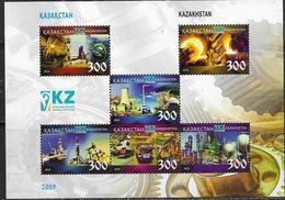 KAZAKHSTAN, 2019, MNH ,HEAVY INDUSTRY IN KAZAKHSTAN, TRANSPORT, OIL INDUSTRY, ENERGY,  SHEETLET - Factories & Industries