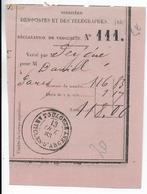 HAUTE GARONNE - 1883 - RECU De VERSEMENT Avec CACHET ARTICLES D'ARGENT ! De TOULOUSE - Postmark Collection (Covers)