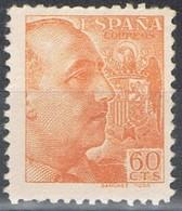 Sello Caudillo 60 Cts Naranja, Pie Sanchez Toda, ESPAÑA 1939.  Num 873 ** - 1931-50 Nuevos & Fijasellos