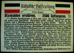 """DIXMUIDEN Affiche D'origine 1914 (AllemagneKöln) Bataille Yser """"Dixmude Erstürmt-3500 Gefangene"""" Premiere Guerre Mondial - Affiches"""
