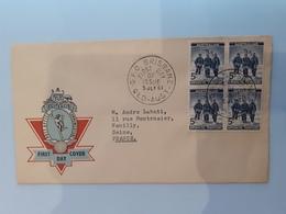 AUSTRALIAN ANTARCTIC TERRITORY  /  FIRST DAY COVER  ( Bloc De 4 Timbres Bleus) /  Cachet De BRISBANE (1961 ) - FDC